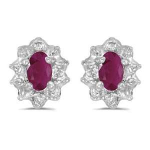 ct. Diamond and 5 x 3 MM Oval Shaped Ruby Earrings Katarina Jewelry