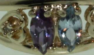 10k yellow gold mothers ring amethyst blue topaz
