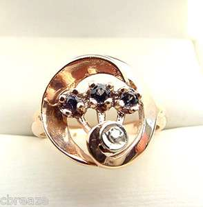 ALEXANDRITE 3 STONE FINE COLORS & DIAMOND 14K ROSE GOLD ART DECO RING