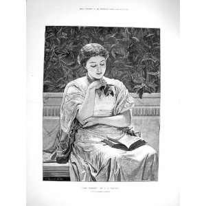 1878 Antique Portrait Girl Reading Book Perugini Art