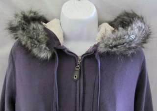 GREEN TEA New Purple Faux Fur Hoodie Jacket Womens S
