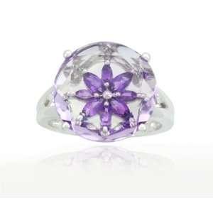 10k White Gold Flower Amethyst Rose Amethyst Diamond Ring