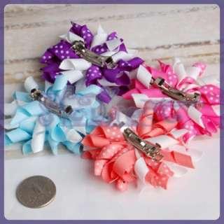 HANDMADE 4 Color Ruffle Baby Girls Korker Clip Hairbow