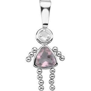 14K White Gold October Girl Pendant With Imitation Birthstone