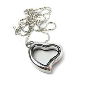 Medium Heart Shaped Clear Glass Memory Locket Necklace