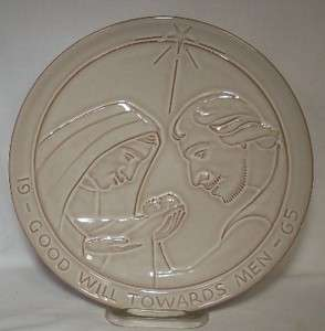 FRANKOMA pottery ANNUAL CHRISTMAS PLATE 1965 Holy Family   Good Will