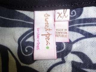 Sweet Pea Stacy Frati Black White Floral Nylon Top XL