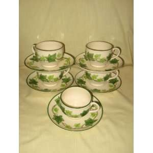 California Pottery Franciscan Ivy Cups & Saucers USA