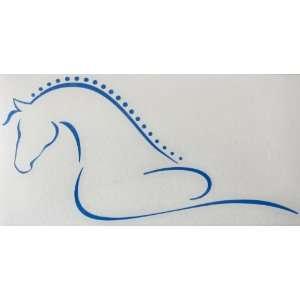Sm Blue Line Art Flowing Braided Mane Horse Vinyl Car Decal Sticker