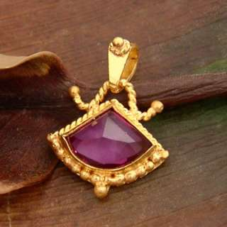 JEWELRY HANDMADE AMETHYST PENDANT SOLID 24K YELLOW GOLD BY OMER