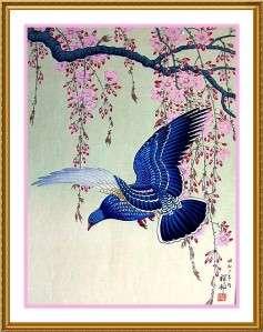 Ohara Shoson Koson Blue Bird Cherry Blossom Branch Counted Cross