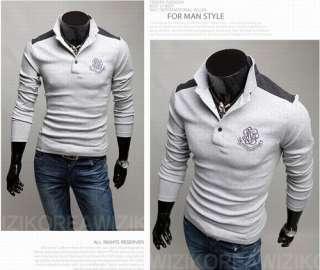 New Mens Polo Shirt Slim Casual Shirt Long sleeved T shirt Cotton