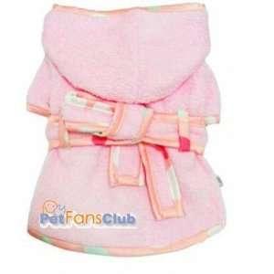Pink Hooded Dog Bathrobe Large