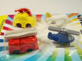 Cyber Kidz Toy shape Novelty fun 4 Erasers airplane helicopter fire