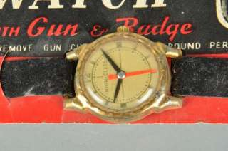 VTG 50s U.S. Marshall Toy Watch w Gun & Badge NOC NOS