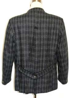 GRAY Plaid Men WOOL Austria Hunting Suit Jacket 48 XL