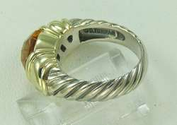 David Yurman 14K Gold Sterling Silver Citrine Cable style Ring, No