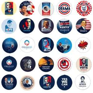 of 2.25 Barack Obama Campaign Buttons Pins Badges