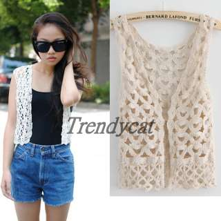 Retro Summer Giselle Lady Lace Waistcoat Crochet Vest Gilet