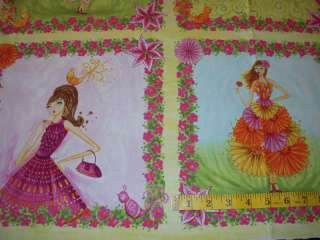 Girly Girls Flowery Dresses Cotton Fabric Craft Panels |