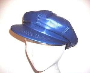 LADY LEATHER NEWSBOY HAT FEDORA CAP HIP HOP BLUE USA