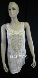 New INC International Concepts Size PM, 1X White Tank Top Gold