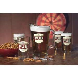 No Half Pints Glasses and Pitcher Combo   Set of 5