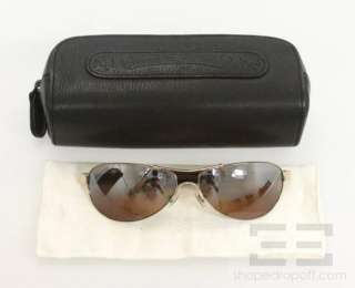 Chrome Hearts Gold & Brown Leather Sterling Silver Riot Aviator