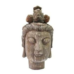 Wooden Head of Quan Yin with Antique Finish Statue:  Home