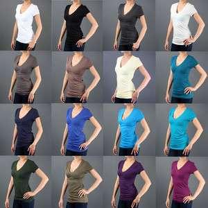 /Junior Basic Plain Short Sleeve V NECK Stretch Slim T Shirt TOP SML