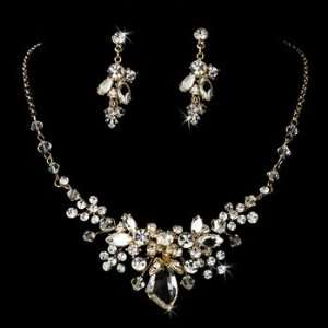 Gold CrystalsRhinestone Floral Necklace Earring Set Jewelry