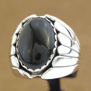 Navajo Sterling Silver Black Onyx XL Mens Ring s10 16