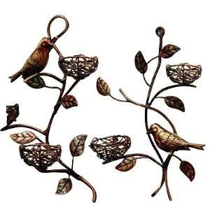 Tree Branch Bird & Nest Wall Candleholder Set Of 2