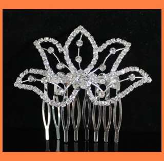 RHINESTONE CRYSTAL HAIR COMB BRIDAL WEDDING TIARA JEWELRY C0121