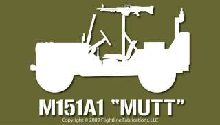 M151 Mutt Vietnam Era Jeep M60 MG Vinyl Decal Sticker
