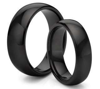 & Hers 8MM/6MM Tungsten Carbide Classic Black Wedding Band Ring Set