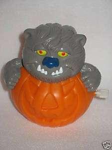 1997 Hardees Wind Up Wolf Kitty Kitten Cat Pumpkin Toy
