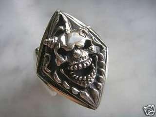 GOTHIC PUNK ROCK DEVIL SKULL 925 STERLING SILVER RING