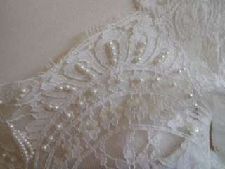 Vintage 1960s Lace Couture Wedding Gown Dress w/ Beading
