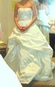 STEPHEN YEARICK WHITE BEADED WEDDING BRIDAL BALL GOWN DRESS 2 / 4