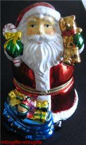 Santa Christmas Porcelain Music Box Figurine Jingle Bells Song   Item