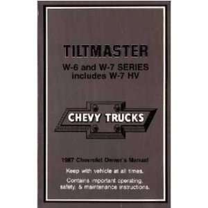 1987 CHEVROLET GMC TILTMASTER Owners Manual User Guide Automotive