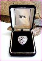 Vintage 60s HEDY Silver & Rhinestones Heart Brooch Pin