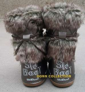FAUX RABBIT FUR LONG FURRY YETI MOON SKI BOOTS SHOES BROWN SNOW