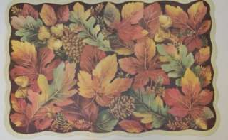 Thanksgiving Fall Halloween Vinyl Placemats Pumpkins Leaves Turkey 4