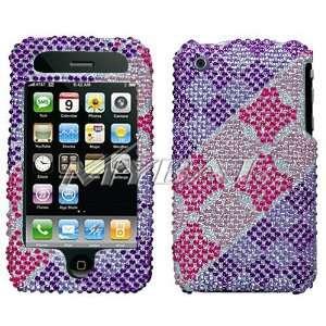 Apple Iphone 3G Purple Pink Checkered Full Diamond Bling