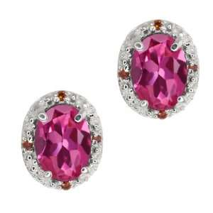 75 Ct Oval Pink Tourmaline and Cognac Red Diamond Argentium Silver