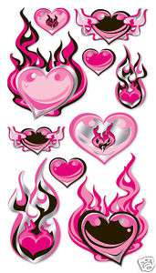 Sticko Rock & Roll Love Pink Hearts On Fire 3D Stickers