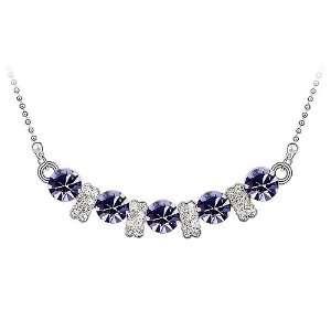Plated 5 Amethyst Swarovski Crystal Elegant Pendant Necklace, High