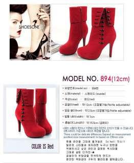 Elegant Fashion Sexy Womens Platform High Heels Shoes Zip Buttons